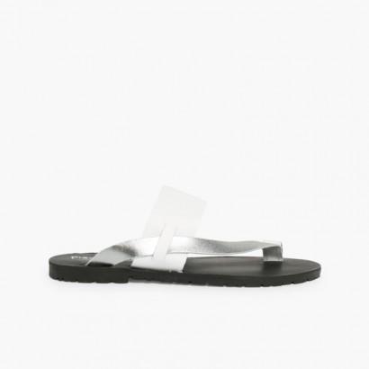 Sandálias Dedo Napa Metalizada Prata