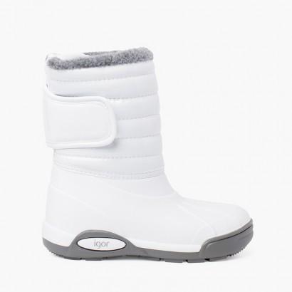 Botas de Neve Verniz Forro Pelo Fecho Ajustável Branco