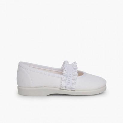 Sapatos Merceditas Menina Tira Elástica Renda Branco