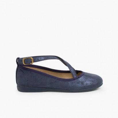 Sapatos Merceditas Fivela Tiras Cruzadas Azul-marinho