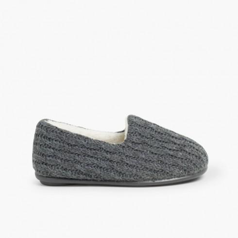 Pantufas Lã Oito Cinzento