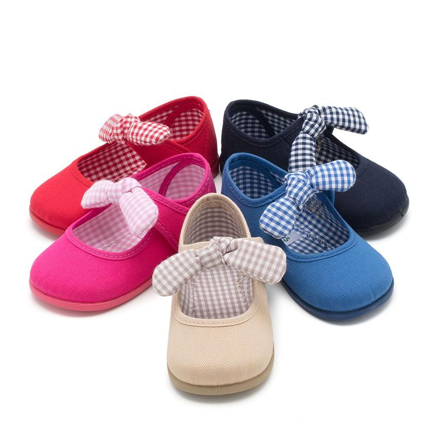 Sapatos Merceditas Lona tiras aderentes   com Laço de Vichy