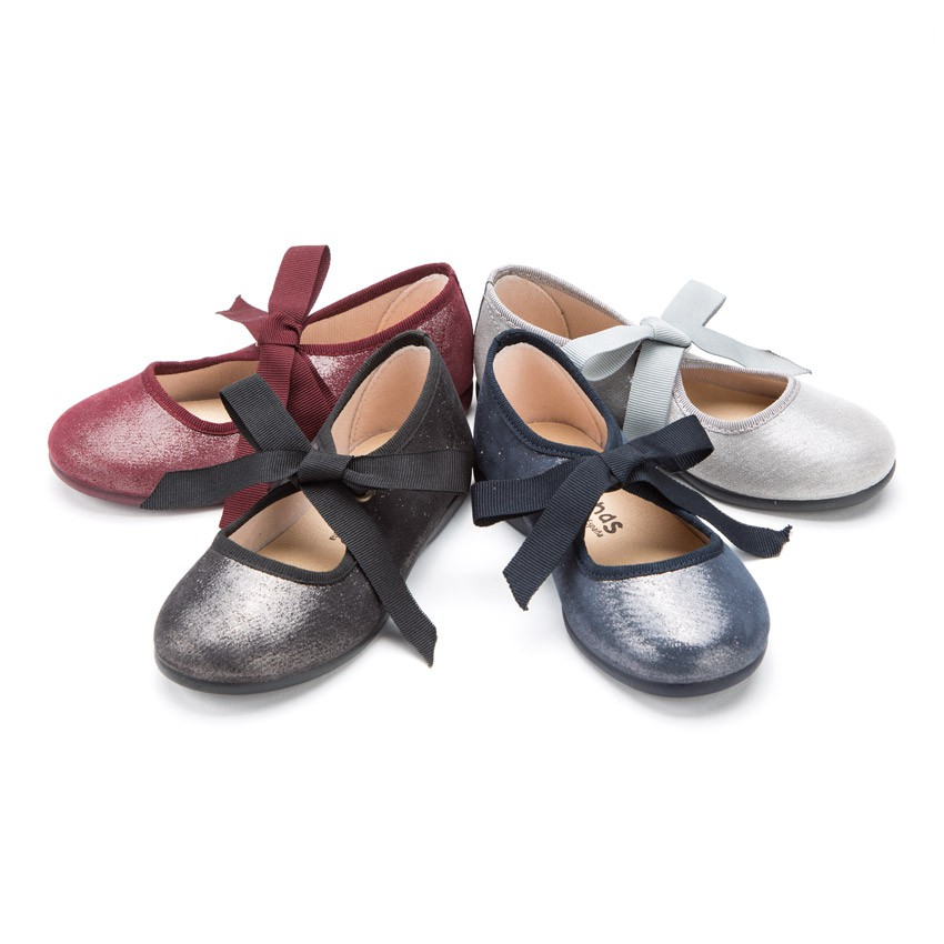 Sapatos Merceditas Menina com brilho e laço