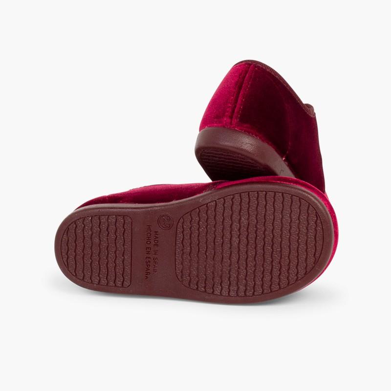 Sapatos de Veludo atacadores Gorgorão Bordeaux