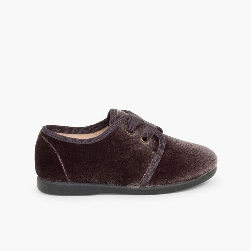 Sapatos de Veludo atacadores Gorgorão Cinzento
