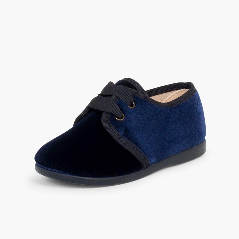 Sapatos de Veludo atacadores Gorgorão Azul-Marinho