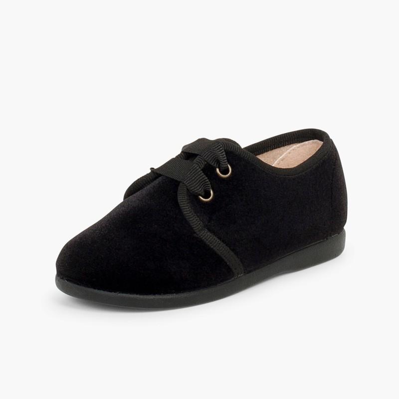 Sapatos de Veludo atacadores Gorgorão Preto