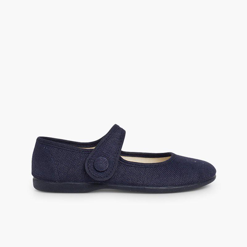 Sapatos Merceditas Linho tiras aderentes   Botão