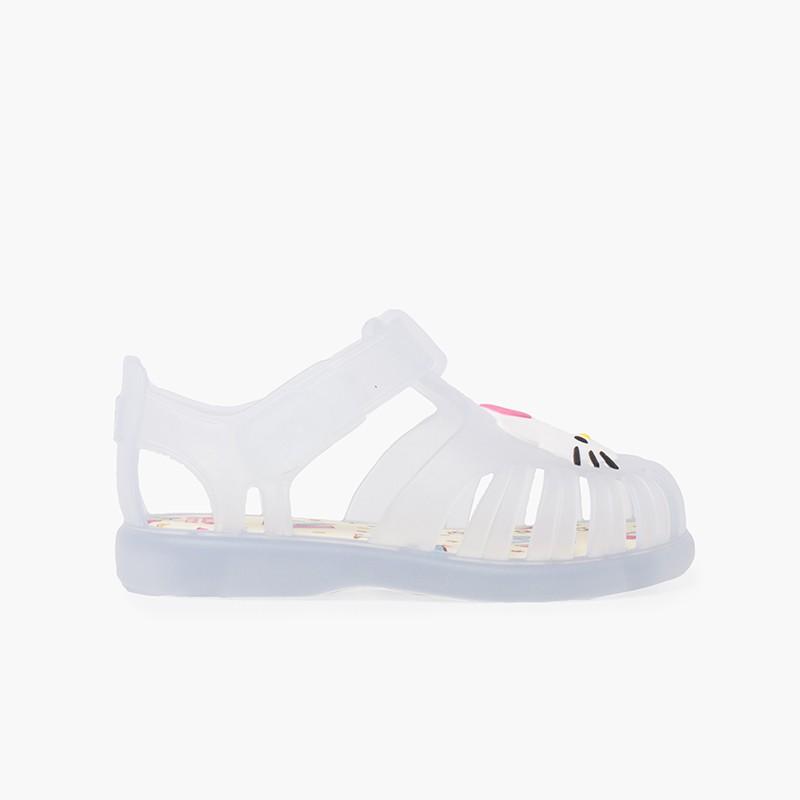 Sandálias de borracha Hello Kitty fecho aderente