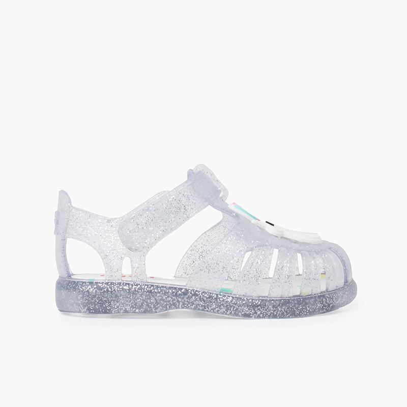 Sandálias de Borracha Glitter Unicórnio Tira Aderente