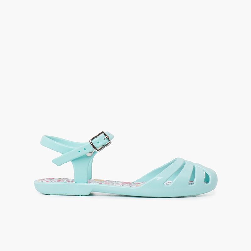 Sandálias de borracha menina fivela palmilha flores