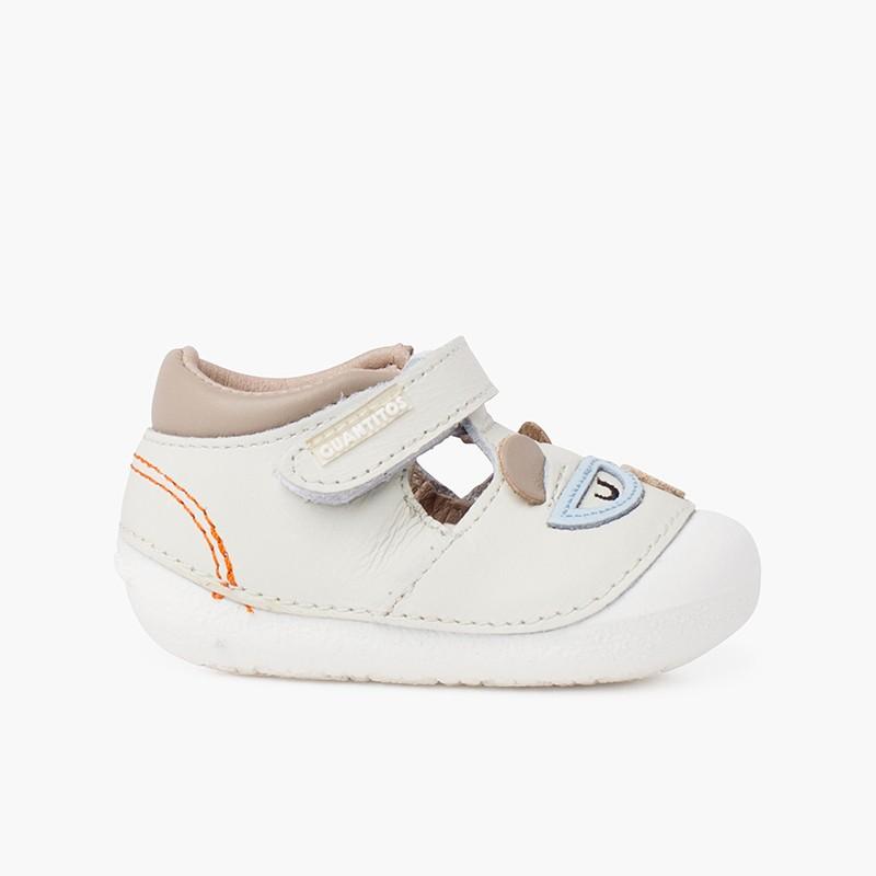 Sandálias sola flexível primeiros passos ursinho