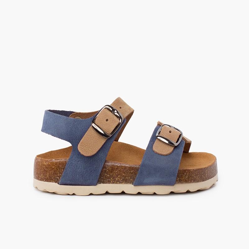 Sandálias bio crianças bicolor dupla fivela