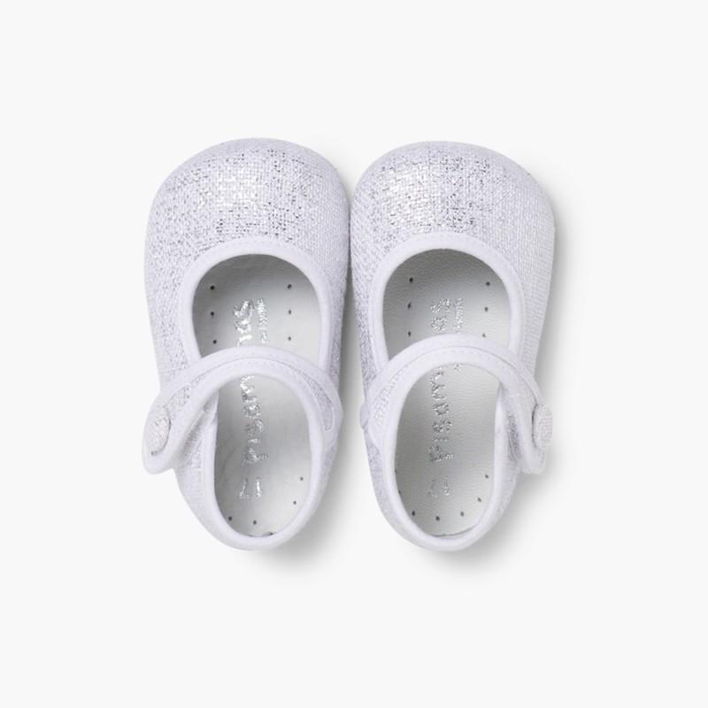 Sapatos Merceditas Bebé Linho Velcro Branco