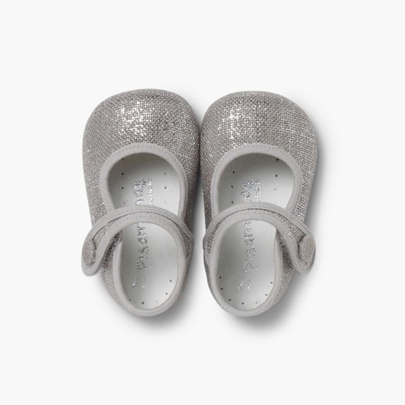 Sapatos Merceditas Bebé Linho Velcro Cinzento