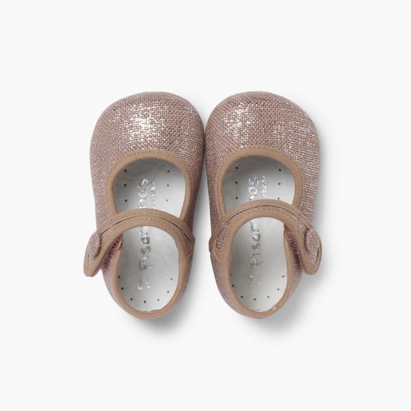 Sapatos Merceditas Bebé Linho Velcro Maquilhagem