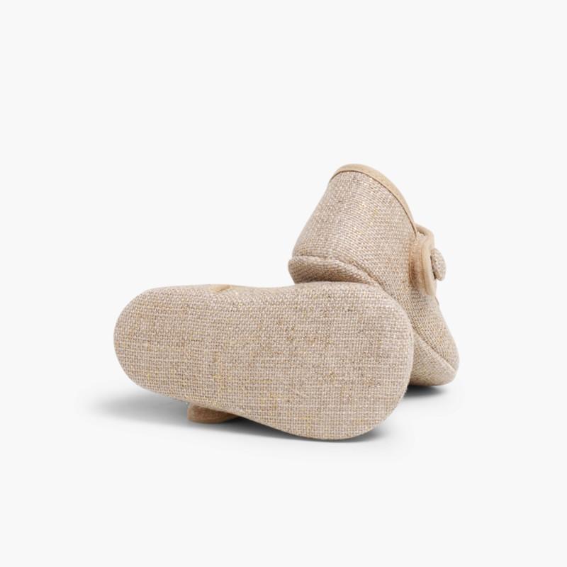 Sapatos Merceditas Bebé Linho Velcro Tostado