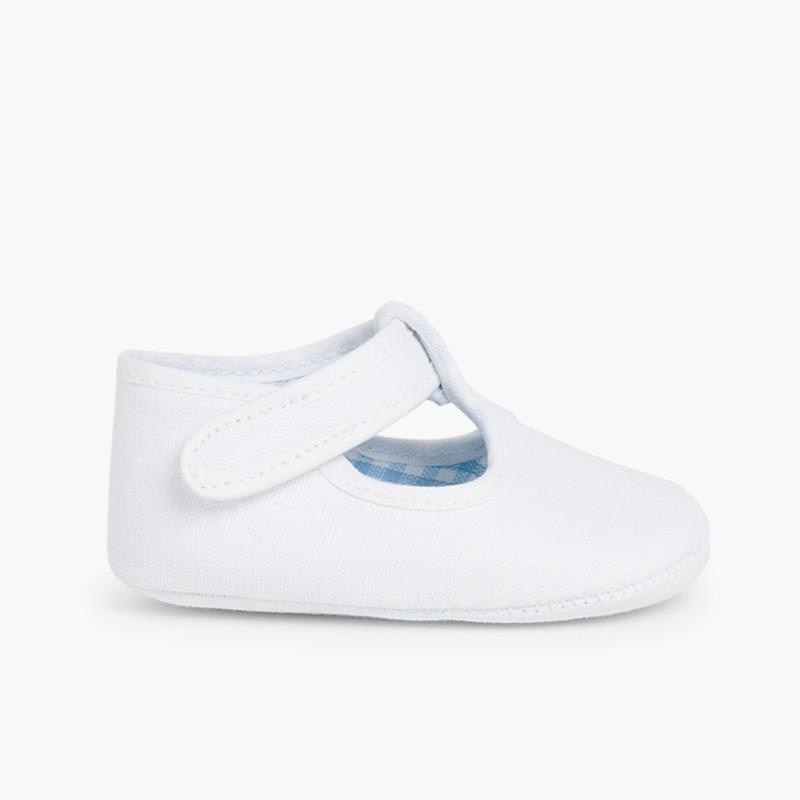 Sapatos Pepito Bebé Tela Velcro Branco