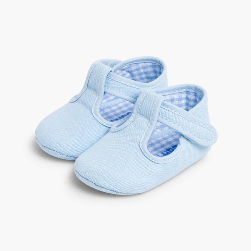 Sapatos Pepito Bebé Tela Velcro Celeste