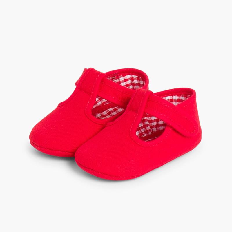 Sapatos Pepito Bebé Tela Velcro Vermelho