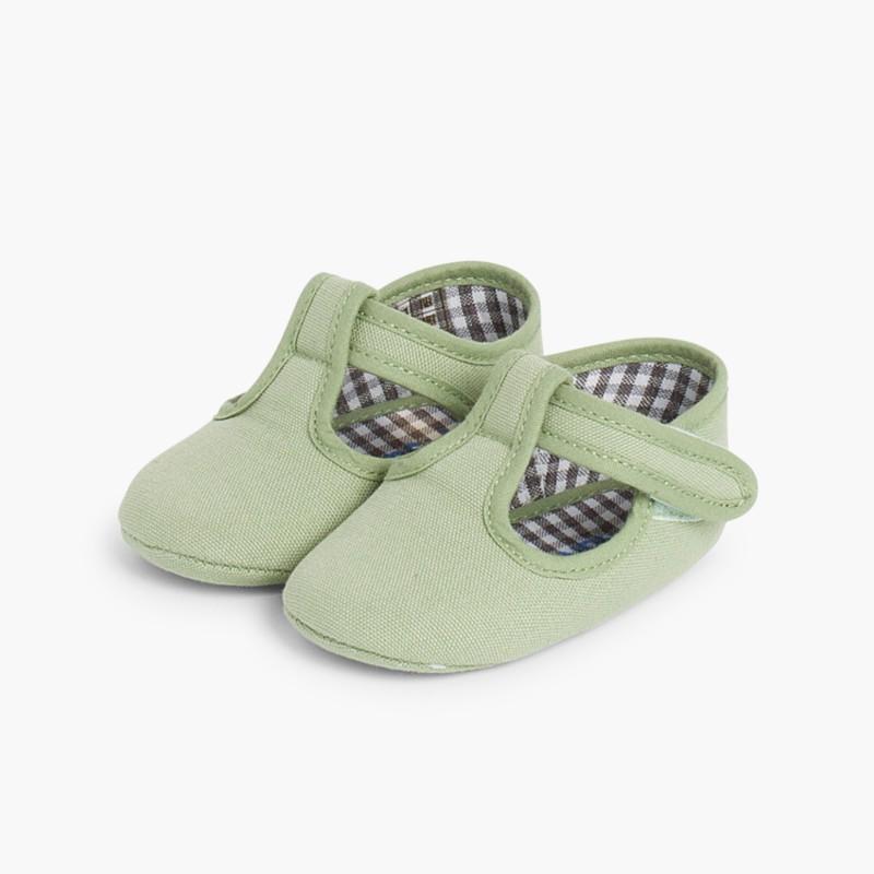 Sapatos Pepito Bebé Tela Velcro Verde Folha