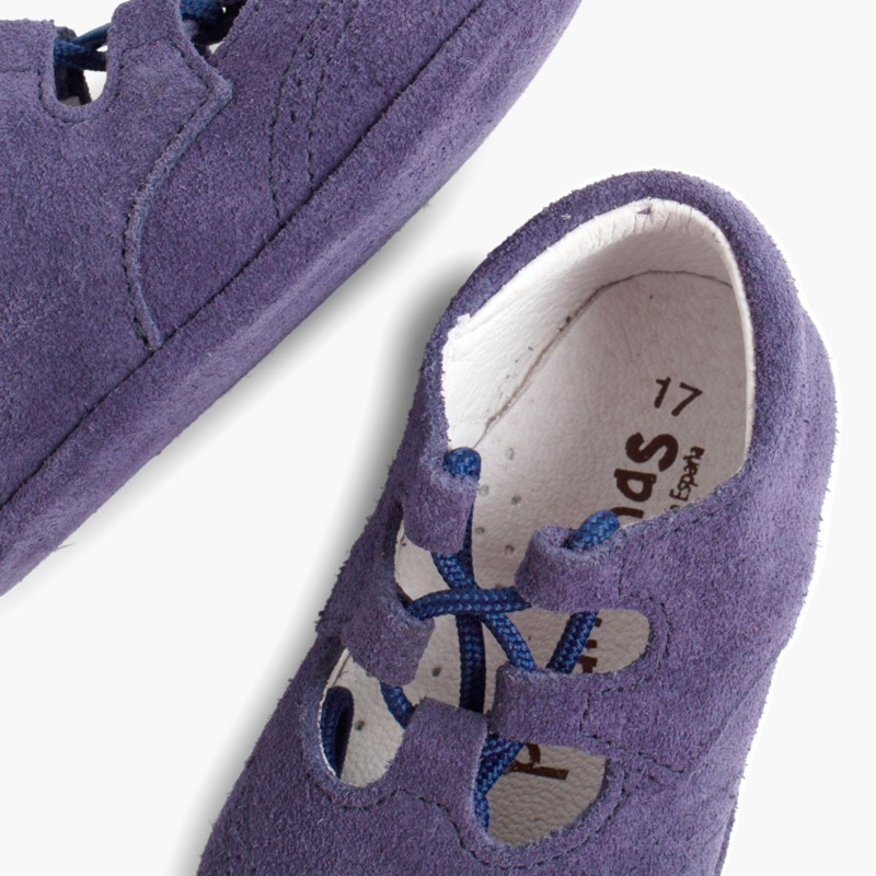 Sapato Estilo Ingl��s Camurça Bebé Azul�o