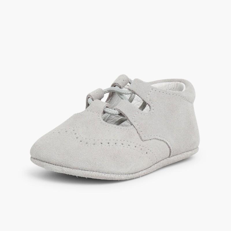 Sapato Estilo Ingl��s Camurça Bebé Cinzento