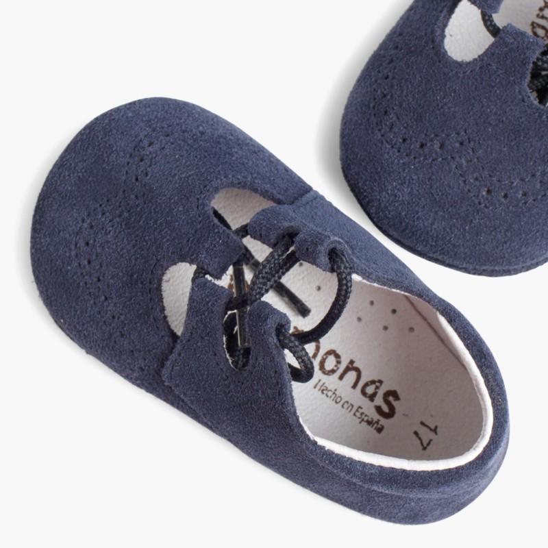 Sapato Estilo Ingl��s Camurça Bebé Azul Marinho