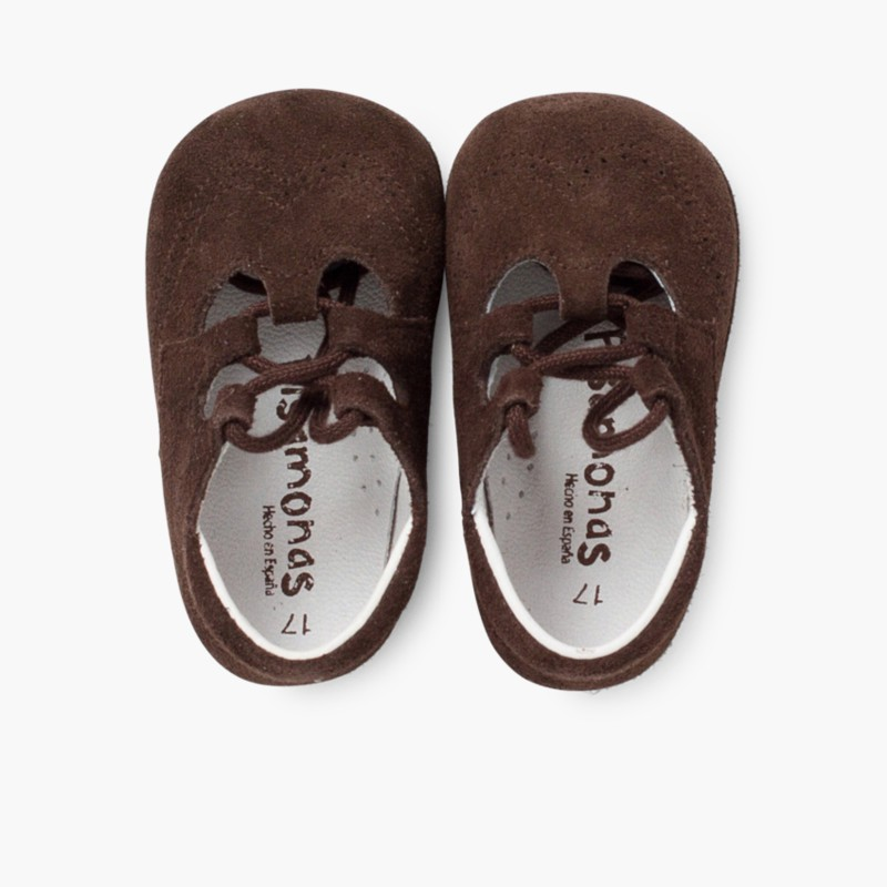 Sapato Estilo Ingl��s Camurça Bebé Castanho