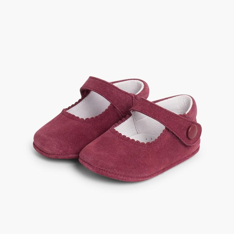 Sapato Mercedita Camurça Bebé com Velcro Bordeaux