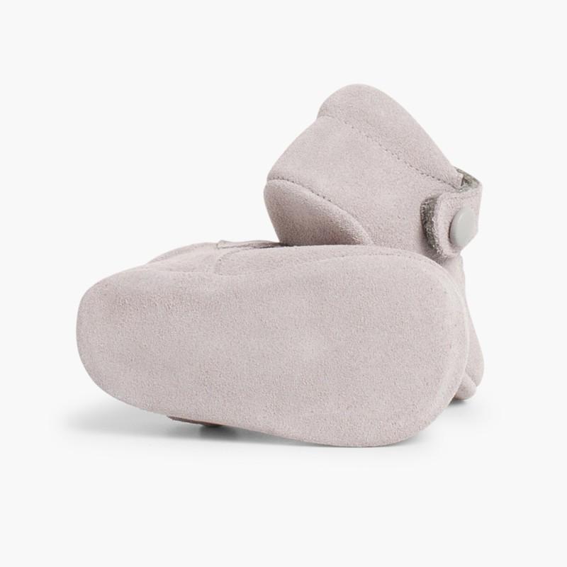 Sapato Mercedita Camurça Bebé com Velcro Cinzento