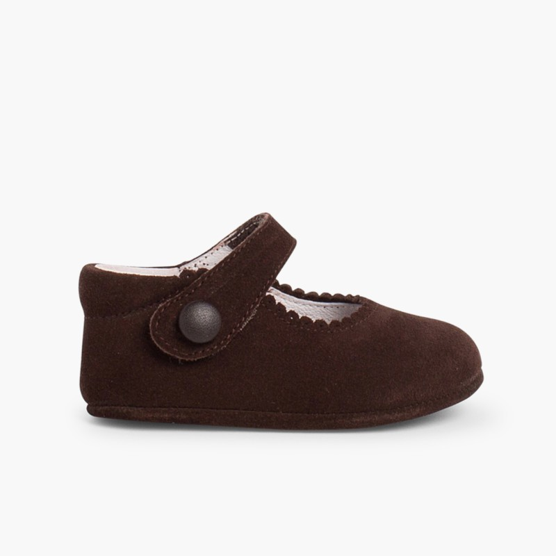Sapato Mercedita Camurça Bebé com Velcro Castanho