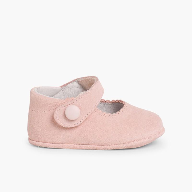 Sapato Mercedita Camurça Bebé com Velcro Rosa