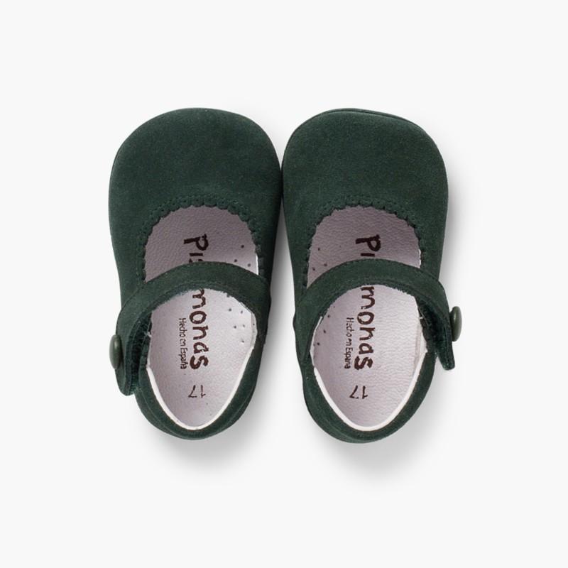 Sapato Mercedita Camurça Bebé com Velcro Verde