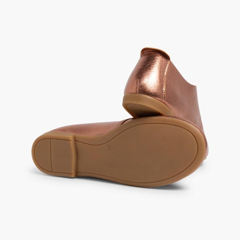 Sapatos Blucher Menina e Mulher Metalizados Bronce