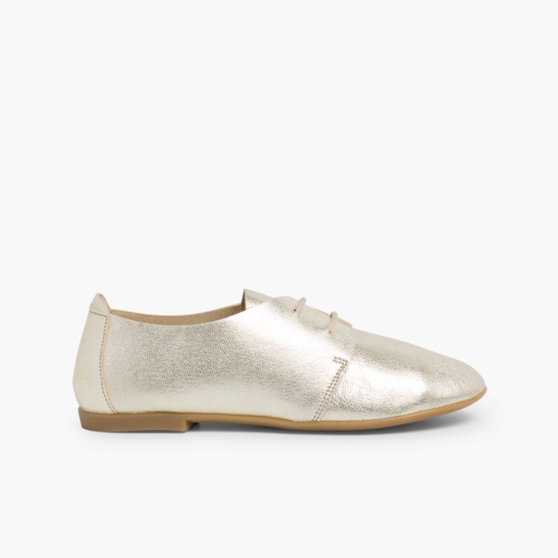 Sapatos Blucher Menina e Mulher Metalizados Ouro
