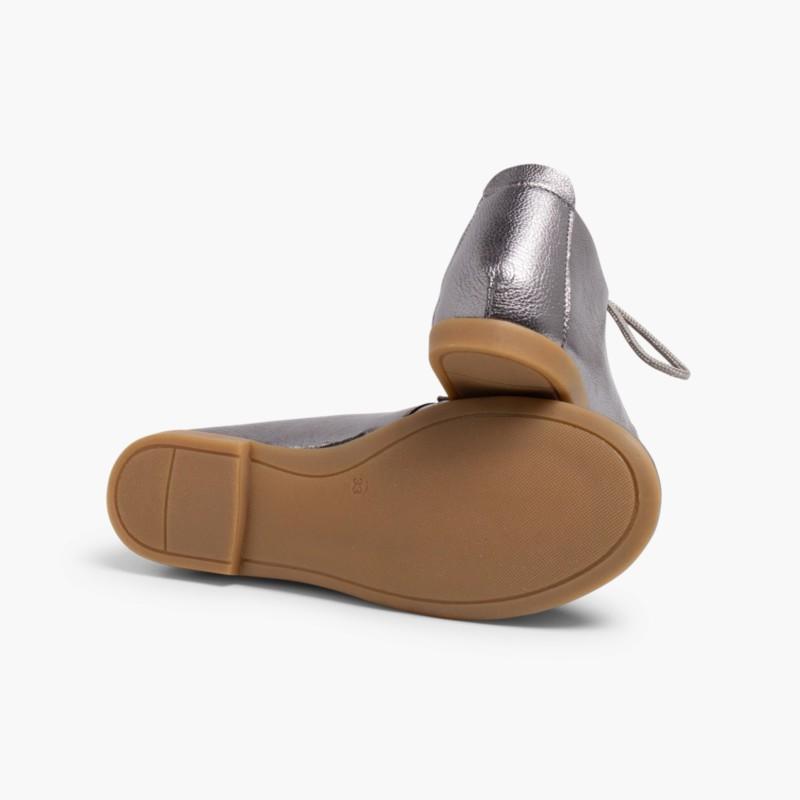 Sapatos Blucher Menina e Mulher Metalizados Platina