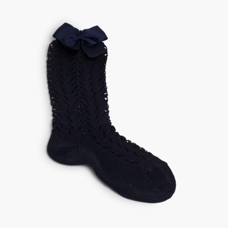 Meias Altas Cóndor Croch� com La�_o Azul-marinho