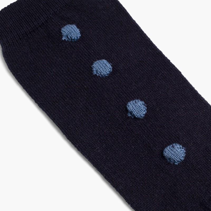 Meias Altas Cóndor com bolinhas Azul Marinho