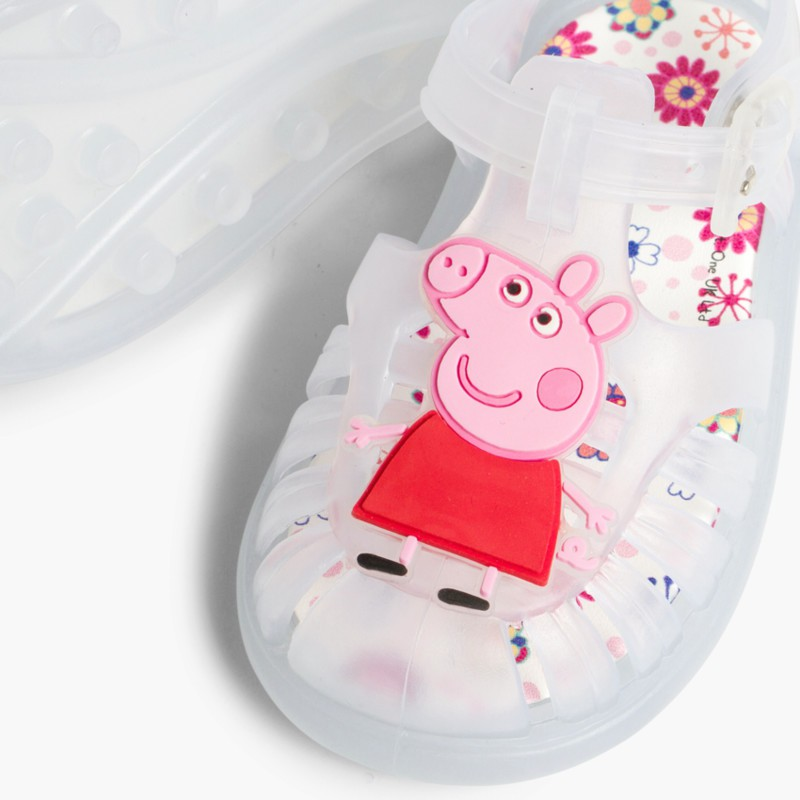 Sand��lias de borracha Menina Peppa Pig Branco