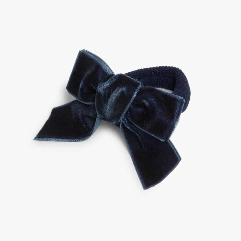 Elástico de cabelo com la�_o de veludo Azul marinho