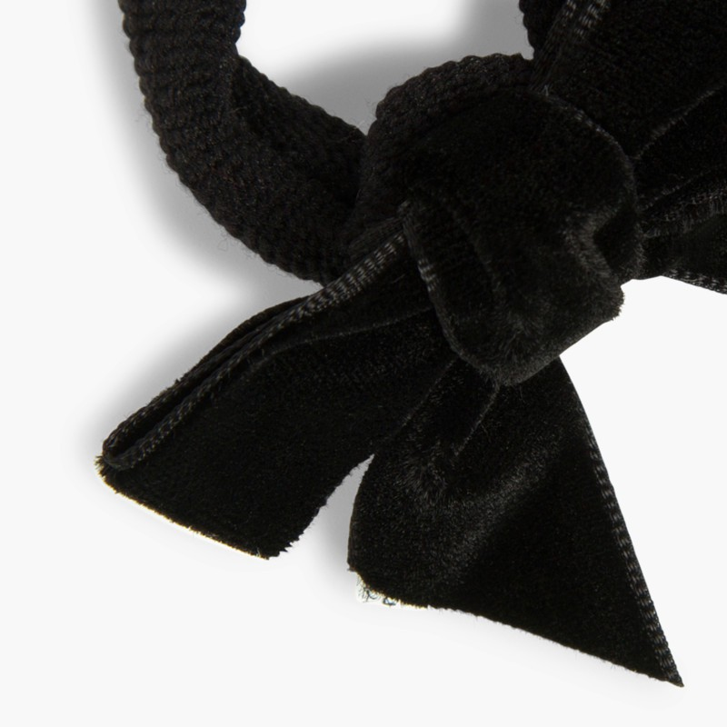 Elástico de cabelo com la�_o de veludo preto