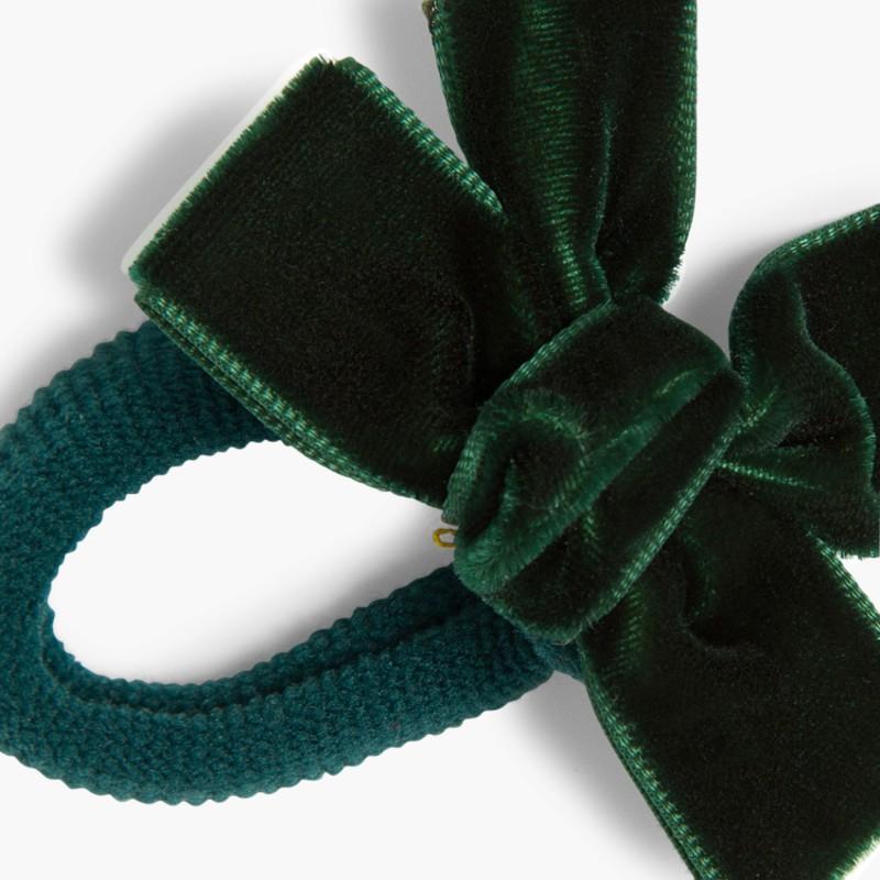 Elástico de cabelo com la�_o de veludo verde garrafa