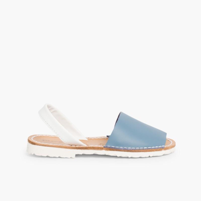 Sand��lias Menorquinas Napa Bicolor Edi�_�o Especial Sola Branca Azul Claro