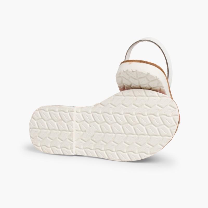 Sand��lias Menorquinas Napa Bicolor Edi�_�o Especial Sola Branca Fúcsia