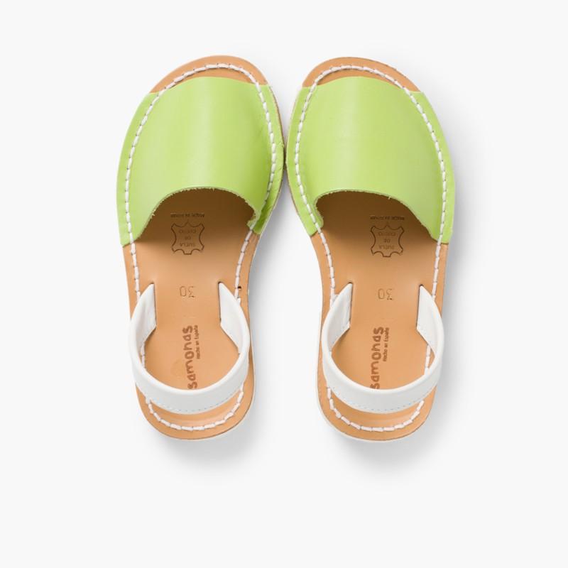 Sand��lias Menorquinas Napa Bicolor Edi�_�o Especial Sola Branca Verde Pistacio