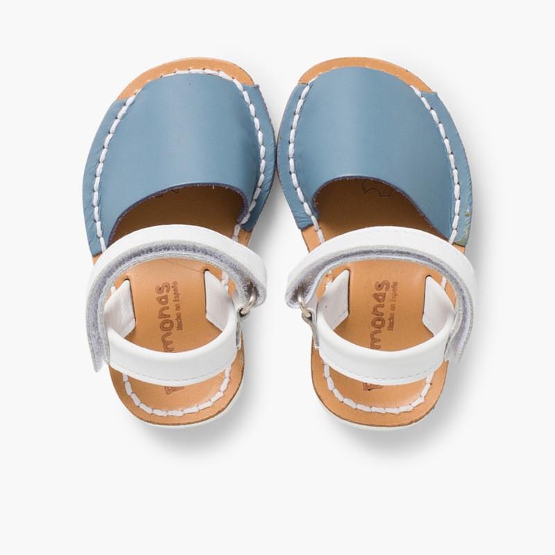 Sand��lias Crian�_a Menorquinas Velcro Napa Edi�_�o Especial Sola Branca Azul Claro