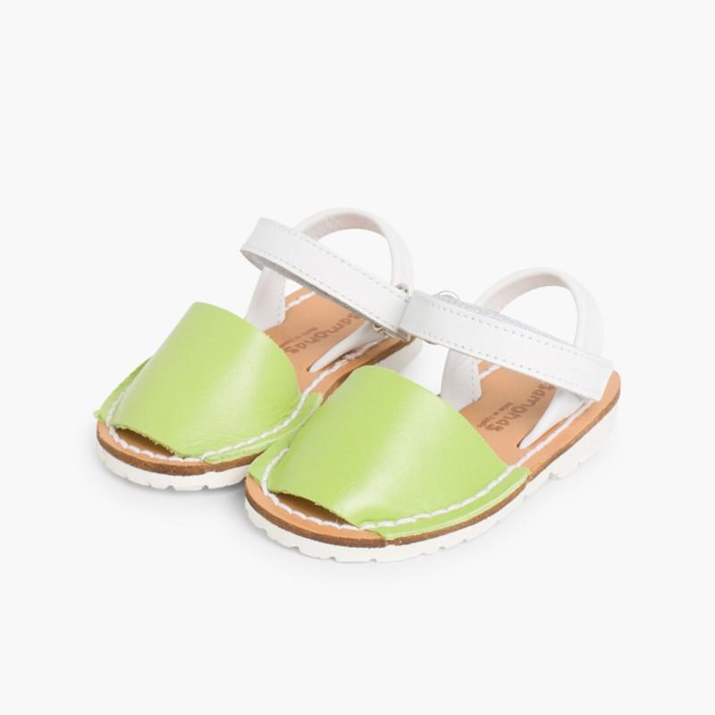 Sand��lias Crian�_a Menorquinas Velcro Napa Edi�_�o Especial Sola Branca Verde Pist��cio