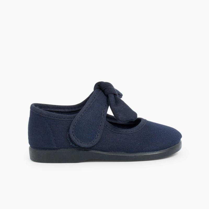 Sapatos Merceditas Lona tiras aderentes   Laço Liso