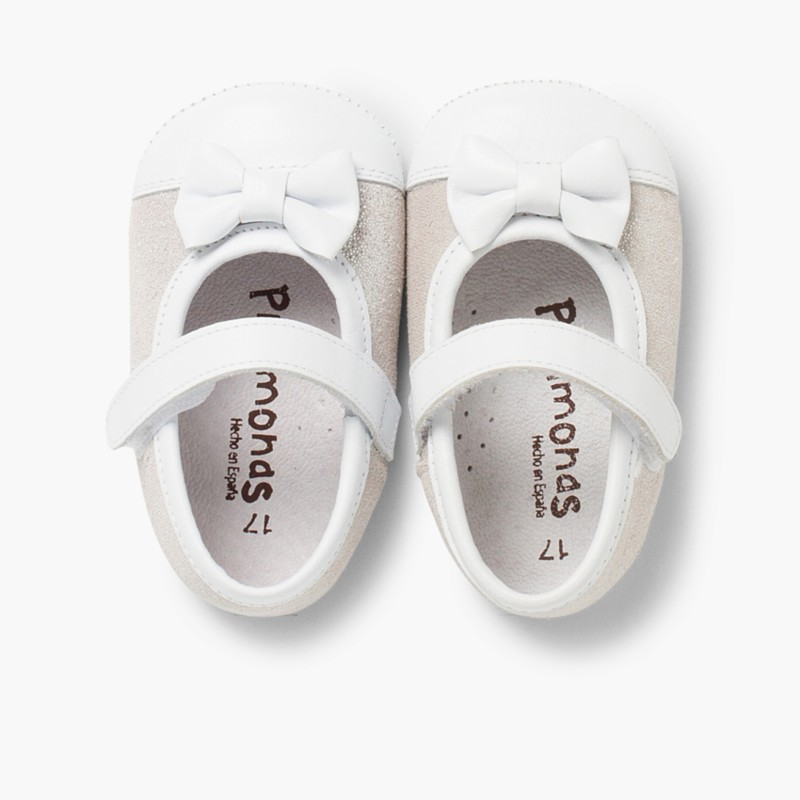 Sapatos Mercedita Bebé Napa e Camurça Brilhos Prata
